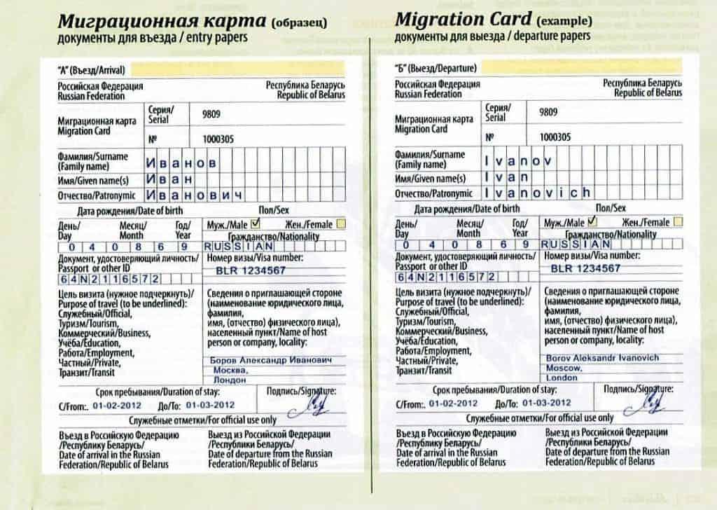 Beispiel Migrationskarte Russland