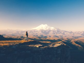 Wanderer am Mt. Elbrus im Nordkaukasus